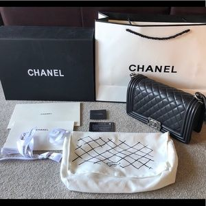 Chanel Boy Double Flap In Medium Black